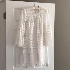 Bcbg Maxazria White Scallop Lace Dress